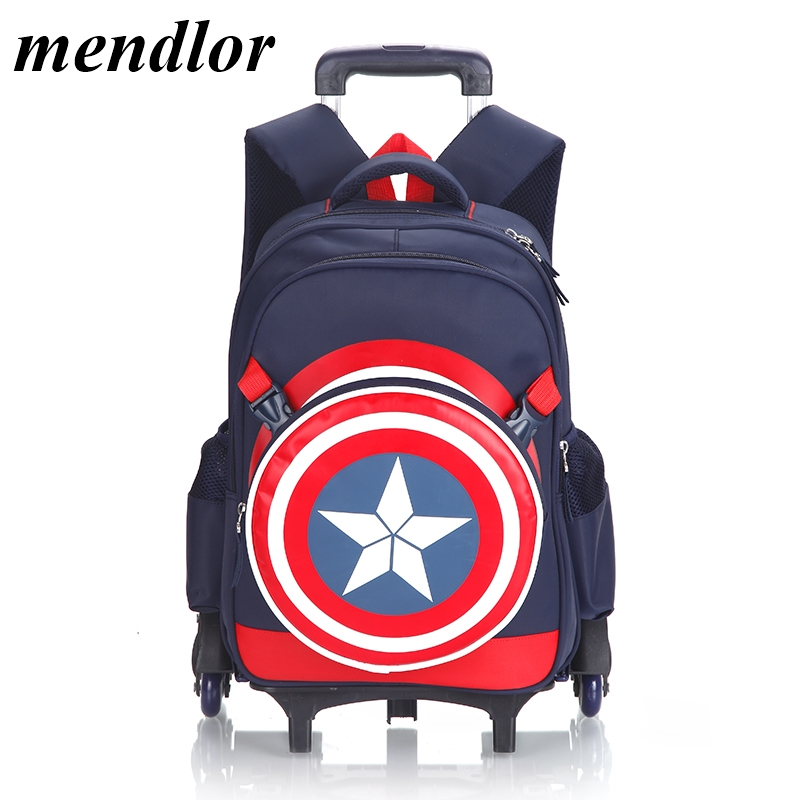 Hot Captain America Climb the stairs luggage 3D cartoon school bag students rolling suitcase Children travel backpackHot Captain America Climb the stairs luggage 3D cartoon school bag students rolling suitcase Children travel backpack