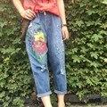 Más tamaño pantalones vaqueros flojos pantalones hasta los tobillos femeninos del verano agujero dibujo colored paint pantalones harén