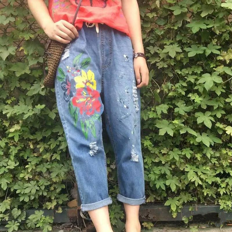 Plus size  loose jeans female ankle length trousers summer hole colored drawing paint  harem pants plus size clothing suspenders mm women jeans 2016 ankle length braces denim trousers female hole bib pants
