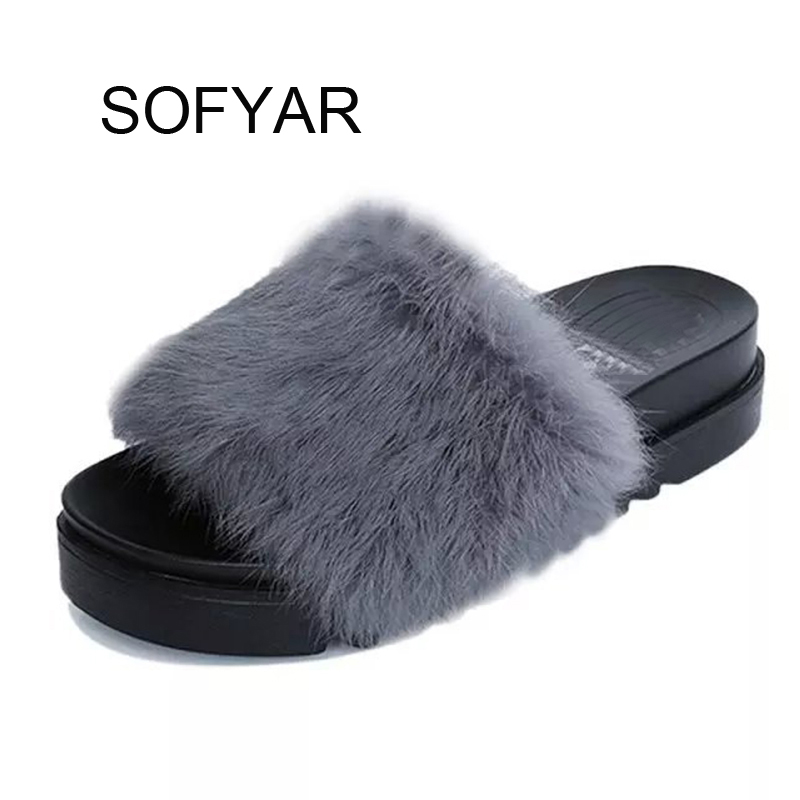 vogue fur slipper Beach Fur Slippers 2017 Wedges Sandals Casual Platform Shoes Woman Creepers Winter Flip Flops Slip On Flats phyanic 2017 gladiator sandals gold silver shoes woman summer platform wedges glitters creepers casual women shoes phy3323