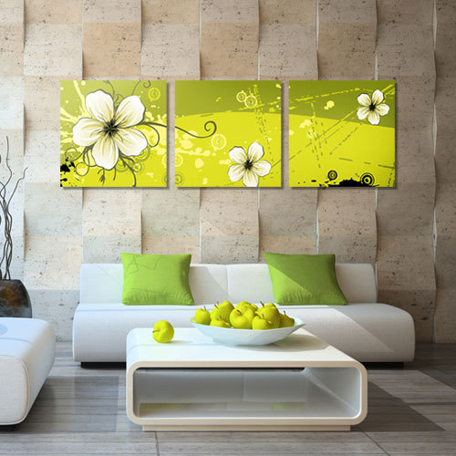3 Panel Painting Picture Modern Wall Oil Painting Abstract Flower Living  Room Wall Art Picture Paint