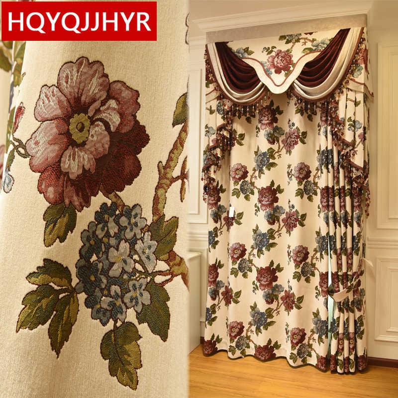 Европейский Топ Роскошный бежевый вилла жаккардовые цветочные шторы для