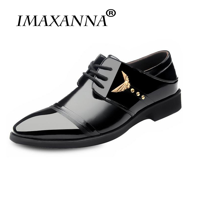 IMAXANNA Luxury Men Pointed Toe Patent Leather Oxford Shoes High Quality Soft Black Business Wedding Men Dress Formal Shoes