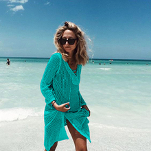 Saida De Praia Summer Beach Wear Dress Tunic Pareos For Women Skirt Knitting Hollow Bandage Longa Kaftan Beach Cover Up
