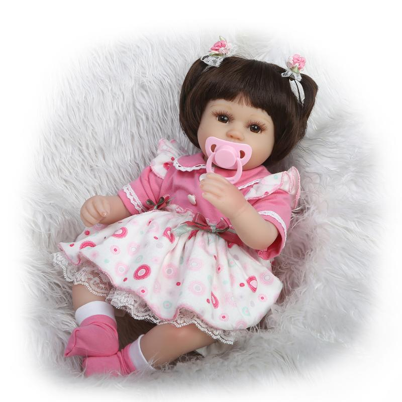 18Inch Soft Silicone Reborn Doll 45CM Vinly Reborn Baby Dolls Princess Dress Girls With Pecifier Mohair Bonecas Gifts handmade 18 inch girl doll plastic toy dolls for girls toy gifts 45cm princess dolls bjd doll with red dress and shoes