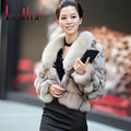 2016 New Fashion Real Fox Fur Coat With Natural Luxury Collar Short Slim Thick Warm Coats Solid Full Sleeve Women Mink Jacket