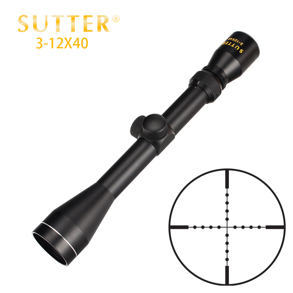 Tactical SUTTER 3-12X40 Hunting Crossbow Air Gun Optical Sight Gold Edition RifleScope Mil Dot Reticle Rifle Scope tactial qd release rifle scope 3 9x32 1maol mil dot hunting riflescope with sun shade tactical optical sight tube equipment