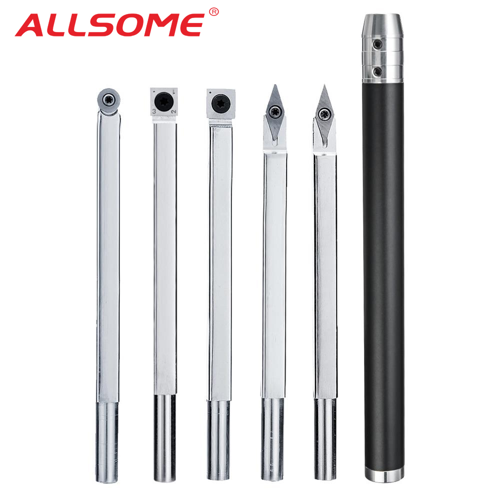 ALLSOME Square Shank Wood Turning Tool Carbide Insert Cutter/Auminum Alloy Handle Wood Lathe Tool HT2446-2451