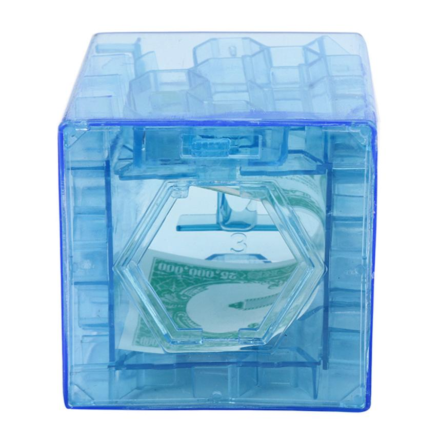 3D Cube Puzzle Money Maze Bank Saving Coin Collection Case Box Fun Brain Game D40