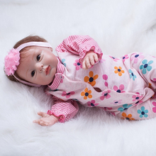 Lovely Sweet Reborn Baby Girl Cloth Body 22 Inch Newborn Babies Doll Lifelike Dolls Toy With Clothes Kids Birthday Xmas Gift