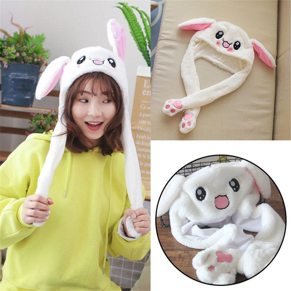 HSU women winter hat Novelty Unisex Cute Rabbit Ear Hat Can Move Airbag Magnet Cap Plush Gift Dance Toy Hat bonnet femme p2(China)