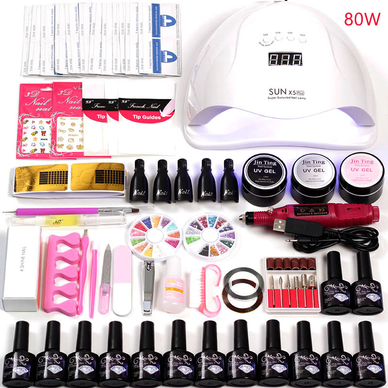 36w/48w/80w Led Uv Nail Lamp Choose 12 Color Gel Nail Polish Varnish Acrylic Kit Electric Nail Drill Machine for Manicure Set36w/48w/80w Led Uv Nail Lamp Choose 12 Color Gel Nail Polish Varnish Acrylic Kit Electric Nail Drill Machine for Manicure Set
