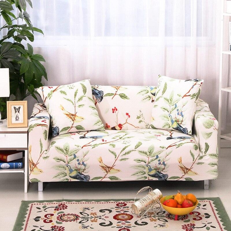 Spandex Stretch Leaf And Birds Pattern Sofa Cover Big