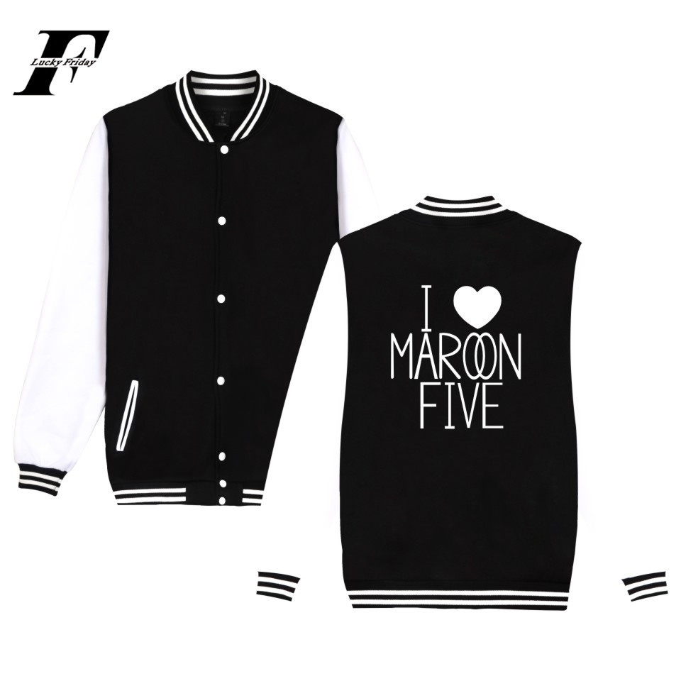 LUCKYFRIDAYF 2017 Maroon 5 Rock Band Autumn Winter Cool Harajuku Men College Uniform Baseball Jacket Hip hop Coats Plus Size 4XL