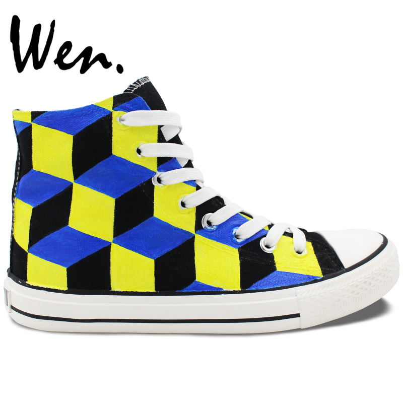 ФОТО Wen Original Design Hand Painted Skateboarding Shoes 3 Dimentional Stereogram Man Woman's High Top Canvas Sneakers