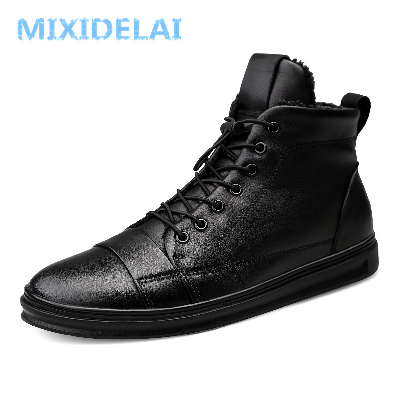 New Big Size Men Shoes High Quality Genuine Leather Men Ankle Boots Fashion Black Shoes Winter Men Boots Warm Shoes With Fur 2016 new winter men s casual shoes boat shoes for men black brown fur shoes lazy autumn large size shoes warm men in stock