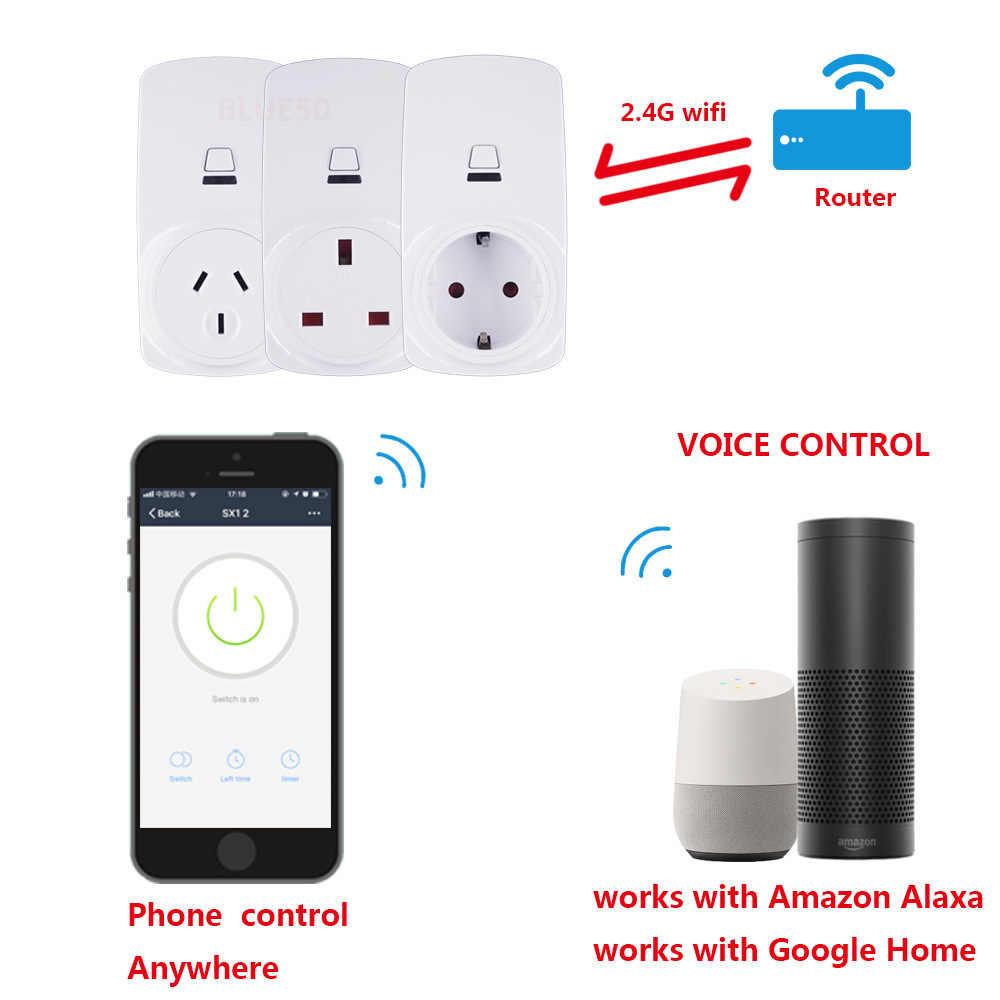 EWeLink inteligentne gniazdo WiFi inteligentna wtyczka ue FR w wielkiej brytanii, usa, AU Outlet 10A 16A współpracuje z Alexa Google domu Mini IFTTT inteligentny automatyki domowej
