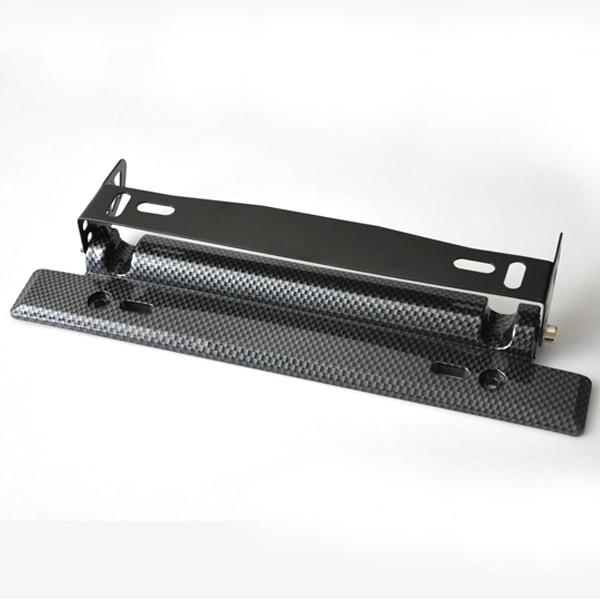 License Plate Black Carbon Fiber Pattern Vehicle Adjustable TRD Number  Plate Bracket Holder #460