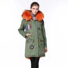 2016 free shipping Beading MR fur parka orange fur lining with raccoon fur collar Mrs women long jacket