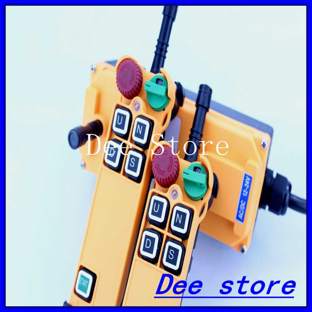 Free Shipping 4 Channel 1 Speed 2 transmitters Hoist Crane Truck Radio Remote Control Push Button Switch System with E Stop