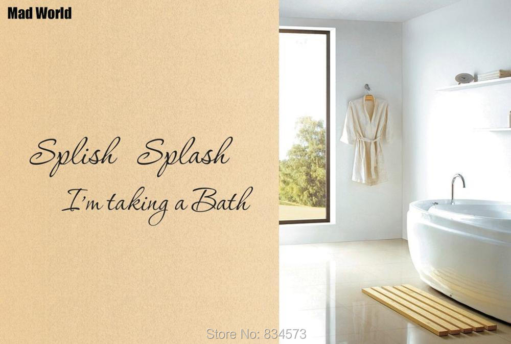 Splish Splash Im taking a bath Bathroom Wall Art Stickers Wall Decals Home DIY Decoration Removable Decor Wall Stickers