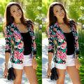 Плюс Размер WomenSpring Осень Цветочный Куртка Без Подкладки Бейсбол Равномерное Женщины Ditsy Печати Кардиган Пиджаки jaqueta femininas