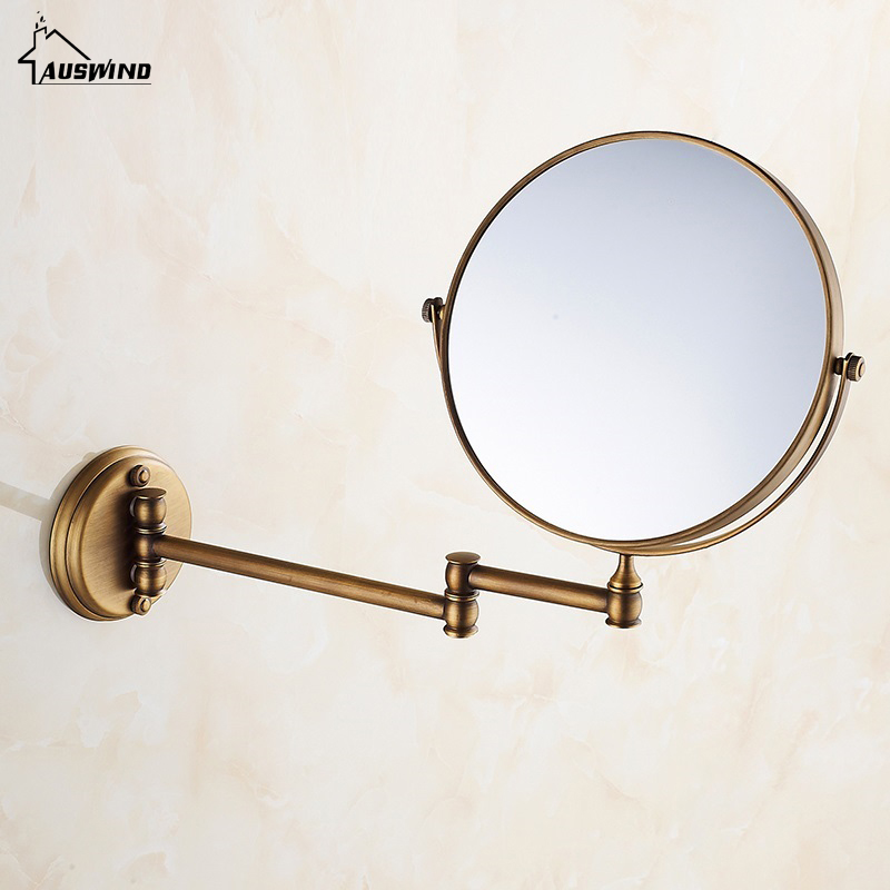 Bath Mirrors 3 X Magnifying Mirror of Bathroom Makeup Mirror Folding Shave 8 Dual Side Antique Brass Wall Round Mirrors Sj04 кольца page 1