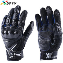 цены XUEYU Genuine Leather Motorcycle Gloves Moto Motorbike Street Bike Racing Luvas Guantes Carbon Fiber Shell Full Finger Guantes