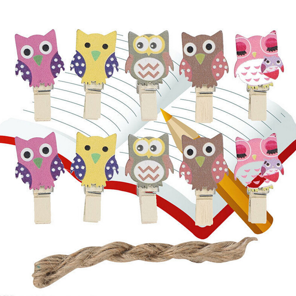 10pcs/Bag Mini Owl Wooden Photo Paper Peg Pin Decorative Clothespins With Rope Home Organization Crafts Wooden Postcard Pegs