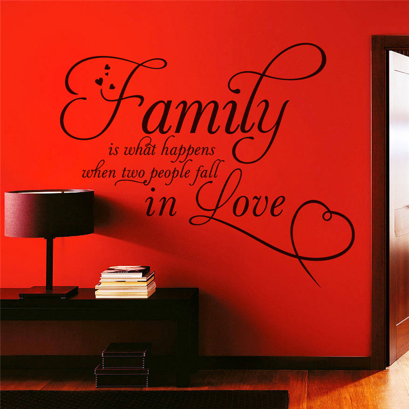 Family Is What Happens When Two People Fall In Love Quotes Wall Stickers For Living Room Home Decor Removable Decals Vinyl Art In Wall Stickers From Home