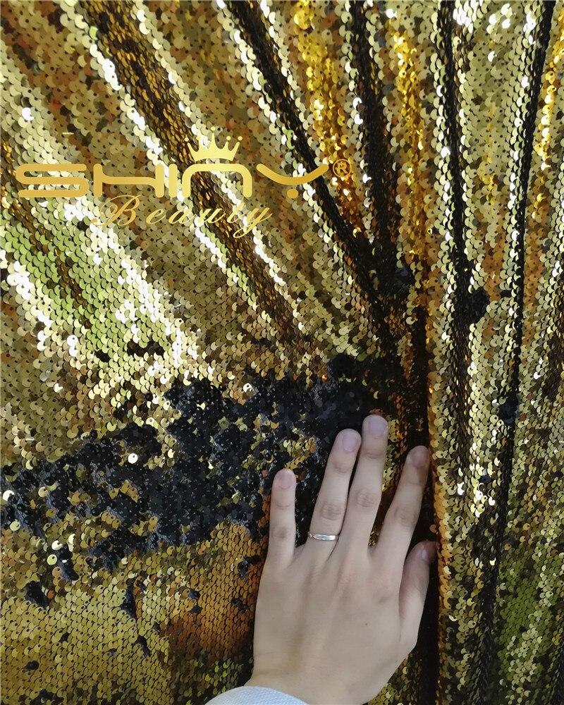ShinyBeauty 2 pcs Or et Noir Rideau Toile de Fond 6x9FT Sirène Sequin Tissu pour les mariages/parties-ar