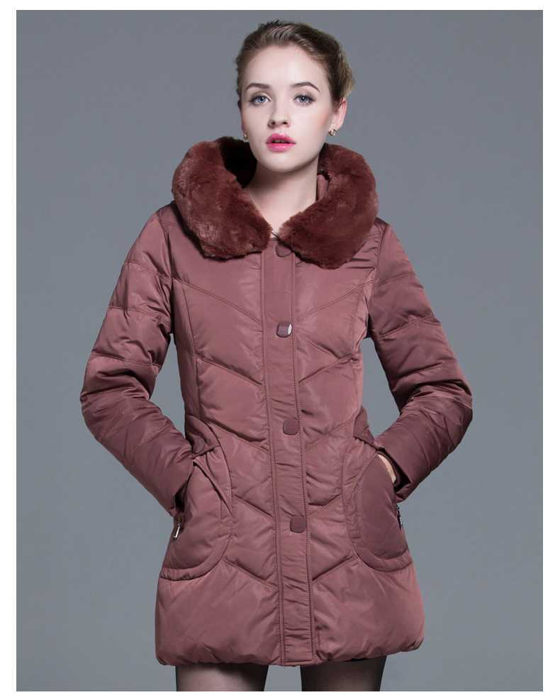 Plus Size Winter cotton Coats 2015 Mid-Age Women Fur Collar Slim cotton Jackets Winter Thicken Wadded Parkas Outerwear H4661