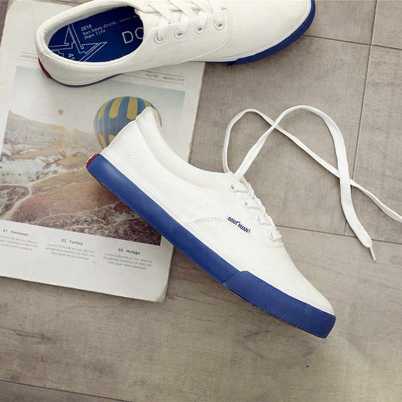 Brand Men s Canvas Casual Shoes Classic Fashion Male Lace up Flats White  Men Flat Heel Sneakers 0233624779a