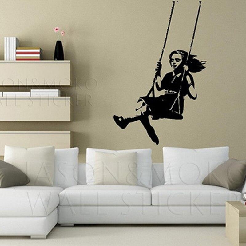 Home Decor Mural Art Wall Paper Stickers ~ Banksy wall sticker wallpaper swing little girl student