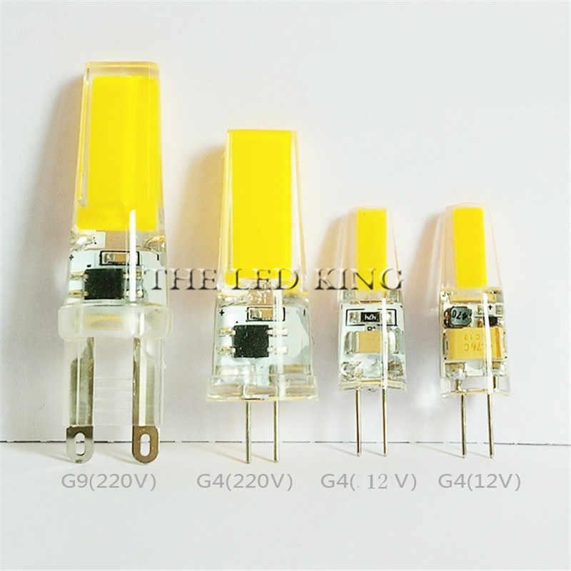 Led G4 G9 COB المصباح الكهربي يعتم الكوز الإضاءة مصلحة الارصاد الجوية التيار المتناوب تيار مستمر 12 فولت 220 فولت 3 واط 6 واط 9 واط استبدال أضواء الهالوجين الأضواء الثريا Bombillas