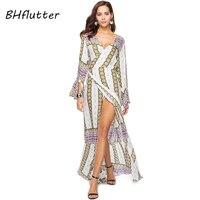 BHflutter 2018 New Long Bohemian Dress Women Flare Long Sleeve Casual Boho Dress Summer Style V