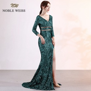 Image 3 - prom dresses 2019 sexy long mermaid prom dress vestidos de fiesta largos v neck backless side slit sequin evening gowns