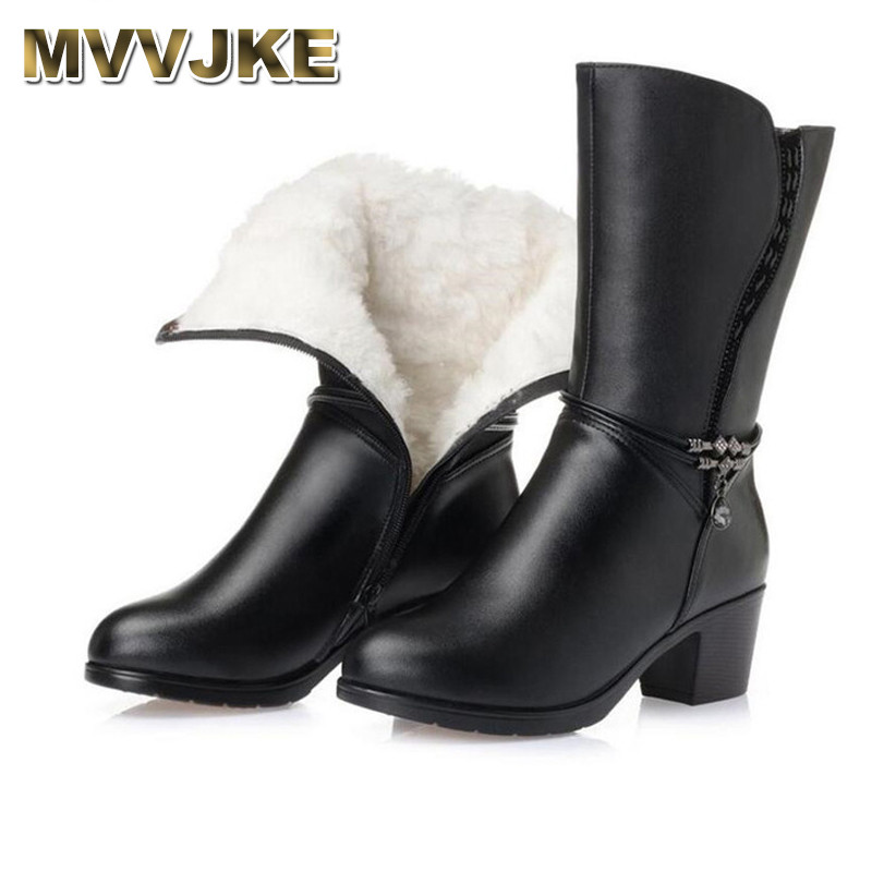 MVVJKE    New plus size winter women boots Warm and comfortable wool snow boots thick heel In-tube boot women shoes Mar bootsMVVJKE    New plus size winter women boots Warm and comfortable wool snow boots thick heel In-tube boot women shoes Mar boots