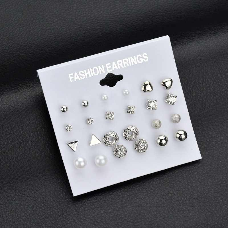 Fashion 2019 Silver Gold Color Crystal Stud Earrings Set 12 Pairs Trendy Square Ball Heart Small Earrings Women Wedding Earrings