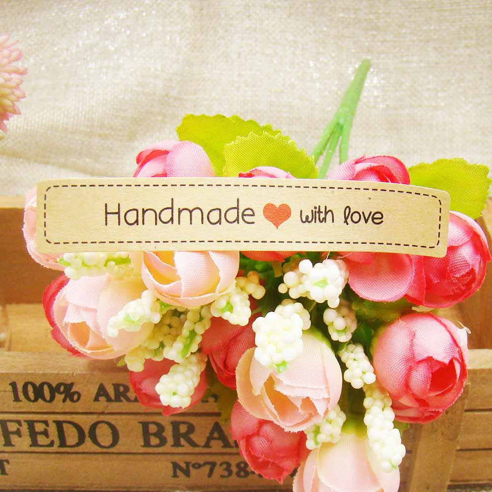 New 120pcs Seal Label HandMade with love Kraft seal Sticker Gift Seal Label Paper Sticker For Party Favor Gift Bag Candy Box Dec