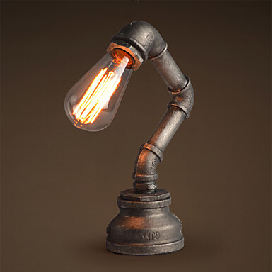 Metal Water Pipe Vintage Desk Lamp Loft Retro Novelty Table For Study Room Bar