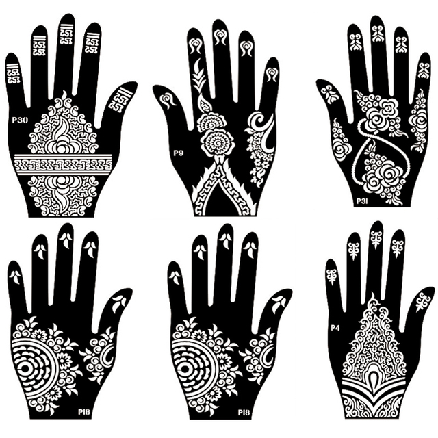 10pcs lot henna flower hand tattoo stencil indian henna glitter