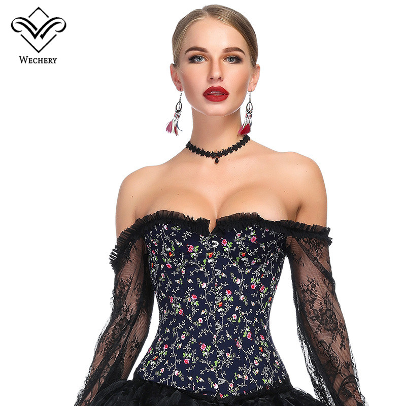 Wechery Summer Gothic   Corset   Female Off Shoulder Tops Floral Lace Sleeve   Bustier   Fashion   Corsets   Tops for Women Sexy Corselet