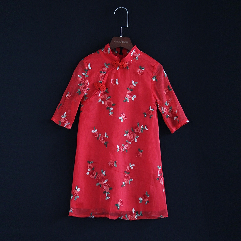 Summer mother and daughter dress family matching clothes embroidery floral 3/4 sleeve dress kids mun girl A-line cheongsam dress laser cut insert bishop sleeve embroidery dress