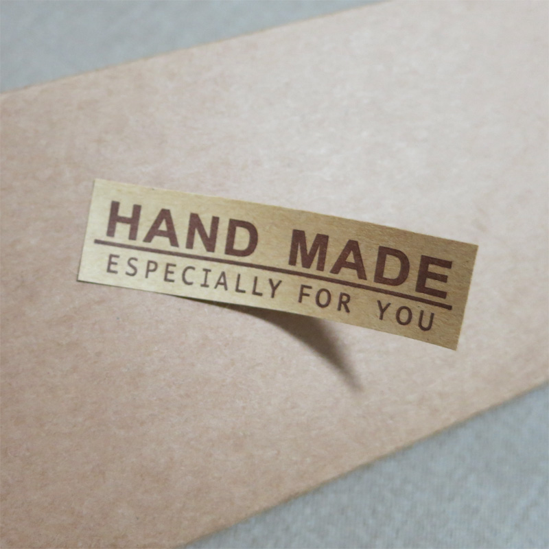 500x HAND MADE kraft paper Adhesive Stickers Handmade Gift Labels домкрат kraft кт 800026