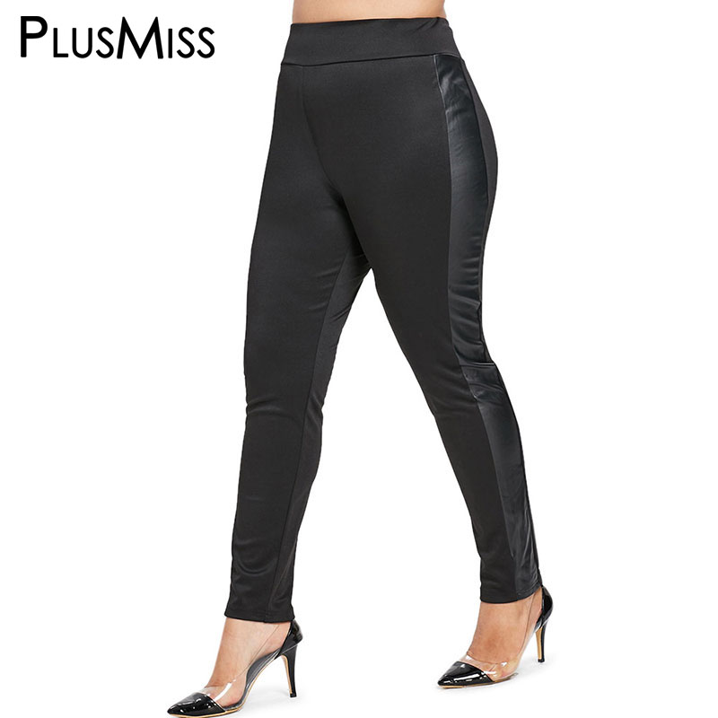 Plusmiss Plus Size 5xl Side Pockets Black Lace Leggings