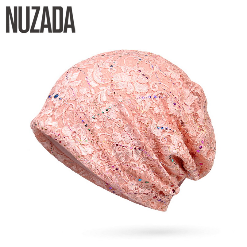 Brand NUZADA Skullies Beanies Thin Lace Breathable Knitted Caps For Women Girl Cotton Hedging Cap Bonnet Hat Spring Summer
