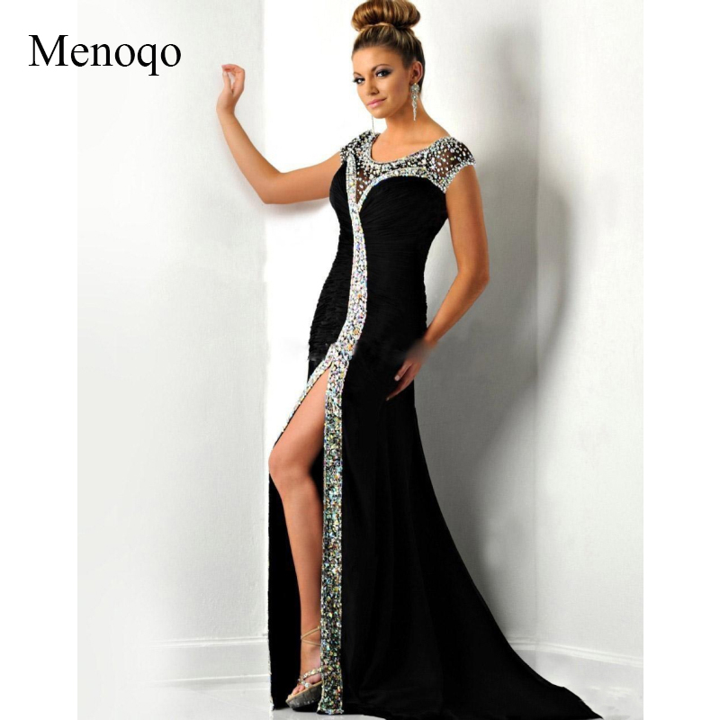 Formal   Evening     Dress   2019 With Mermaid Scoop Crystal Sexy Front Split See Through Vestidos De Noche Long Party Gown