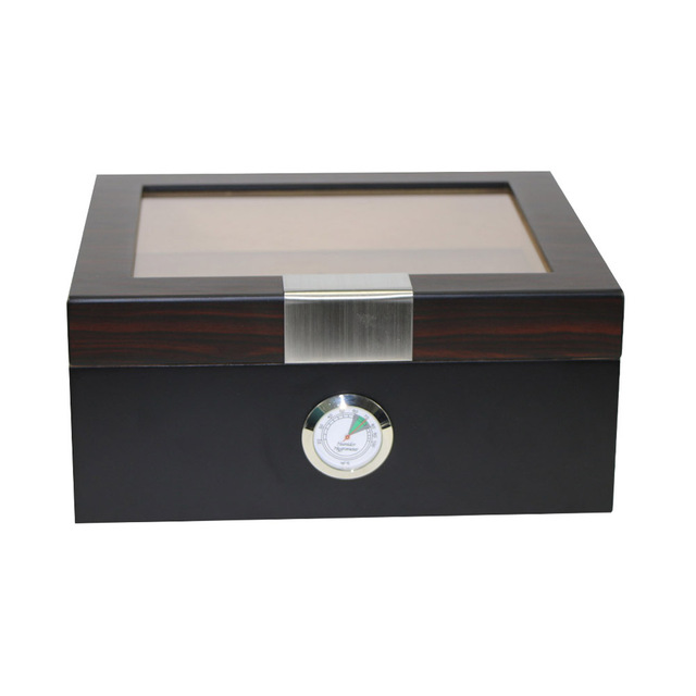 Classic Wooden Cigar Humidor Box With Glass Top Custom Table Handmade  Wooden Cigar Storage Case Display