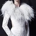 Luxo Inverno Quente Pele de Avestruz Pena Branca Acessórios Do Casamento Nupcial Xailes 2016 Coats Capes Casamento Boleros mariage B177